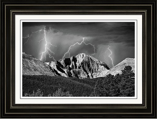 Colorado Longs Peak And Lightning In Black And White Framed Print