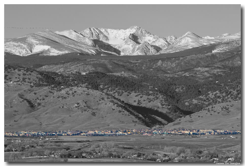 North Boulder Colorado Front Range View BW