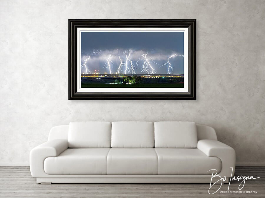 Lightning Thunderstorm On The Colorado Plains Large Panorama Framed Print